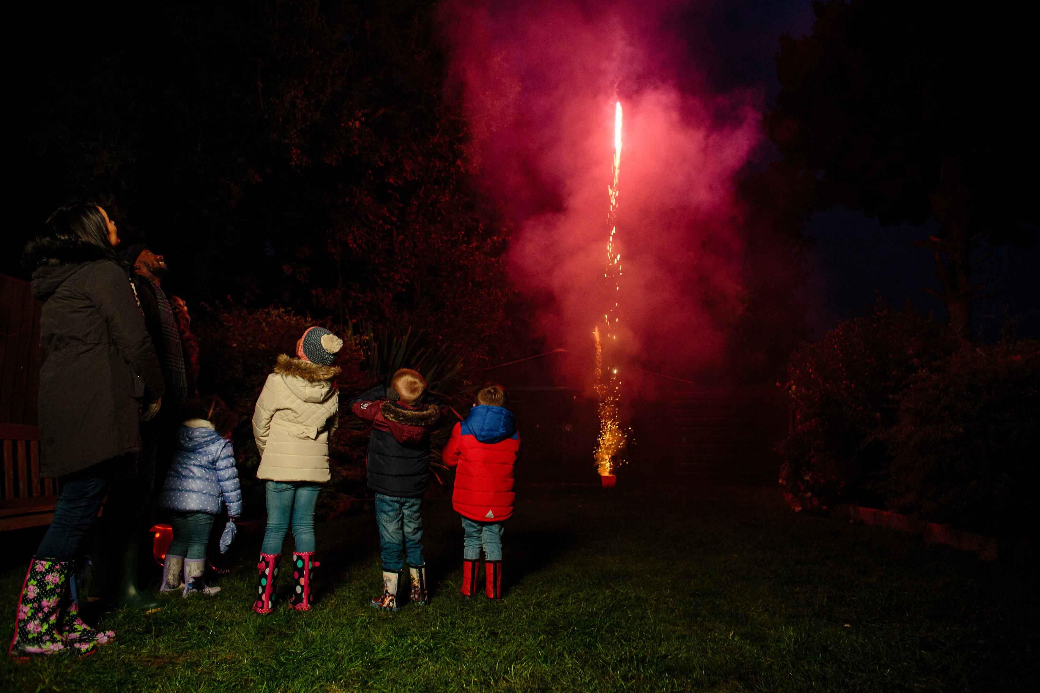Kids watch fireworks