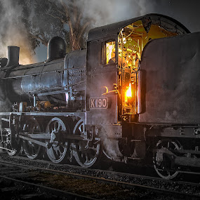 K190 at night by Gary Parnell - Transportation Trains ( steam, railway, k190, train )