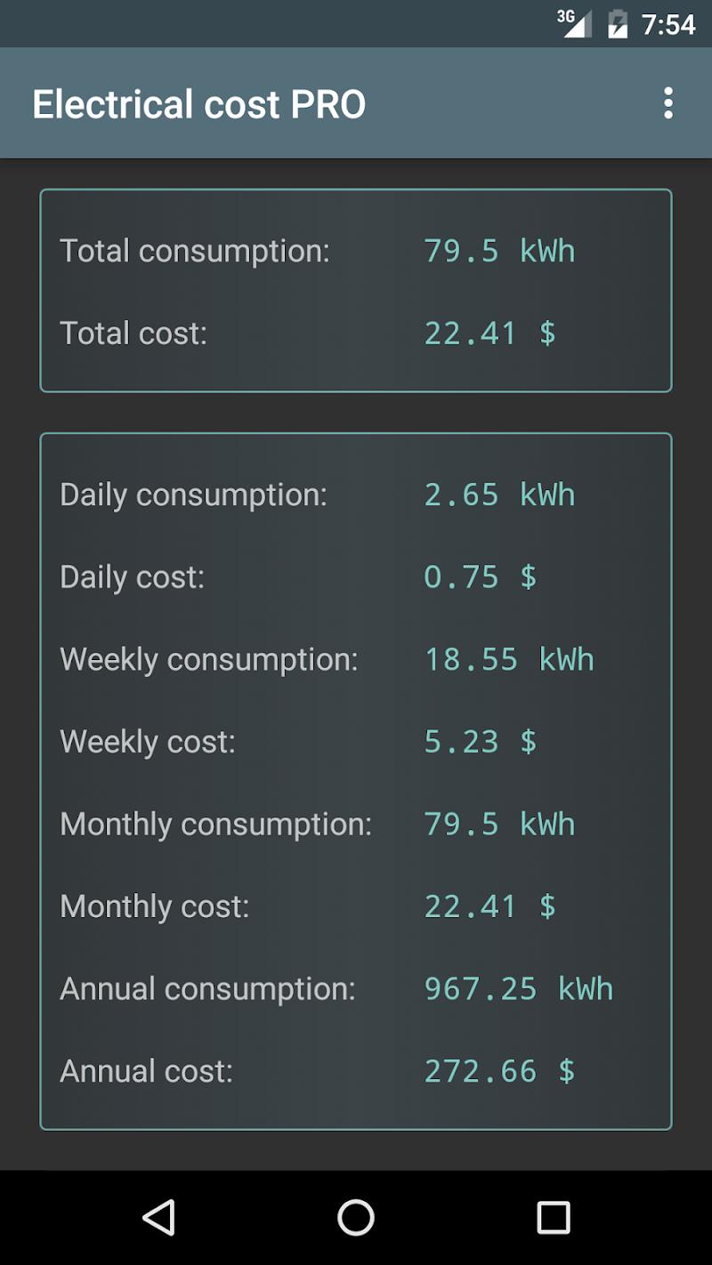 Electrical Cost Screenshot 2