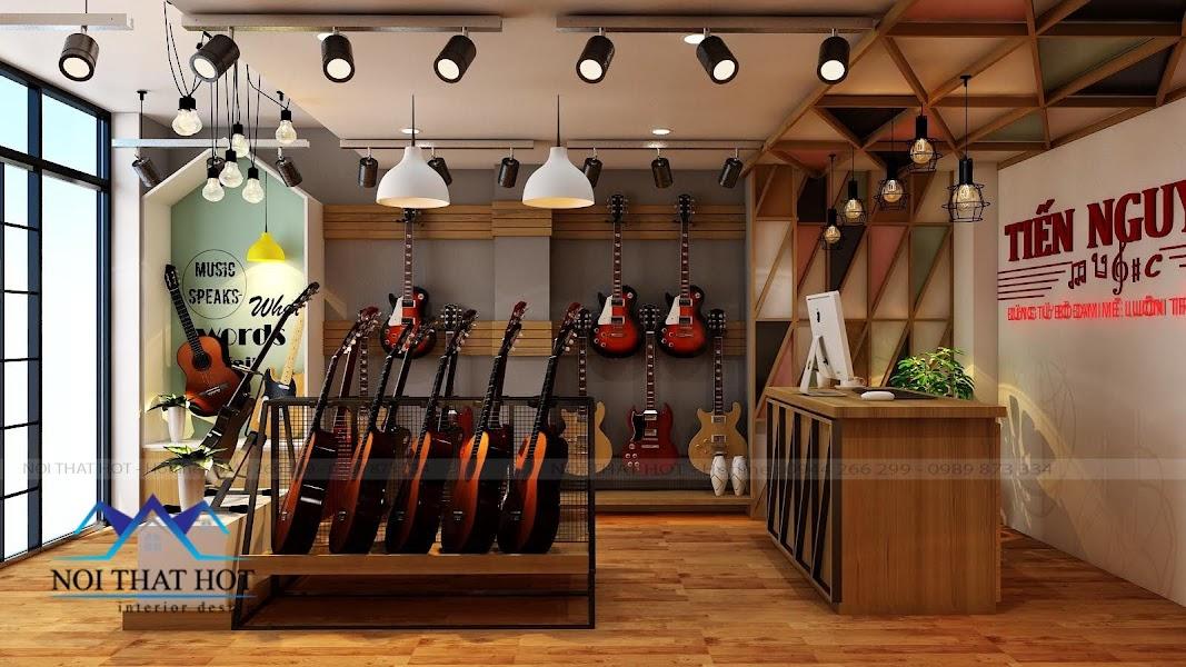 thiết kế cửa hàng đàn guitar chuyên nghiệp