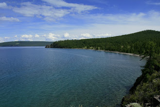 Photo: Khuvsgul lake. Coordinates: 51°06′N 100°30′E Max. length: 136 km Max. width: 36.5 km Surface area: 2760 km² Average depth: 138 m Max. depth: 267 m Water volume: 380.7 km³