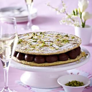 Pistachio Dacquoise with Chocolate Cream.