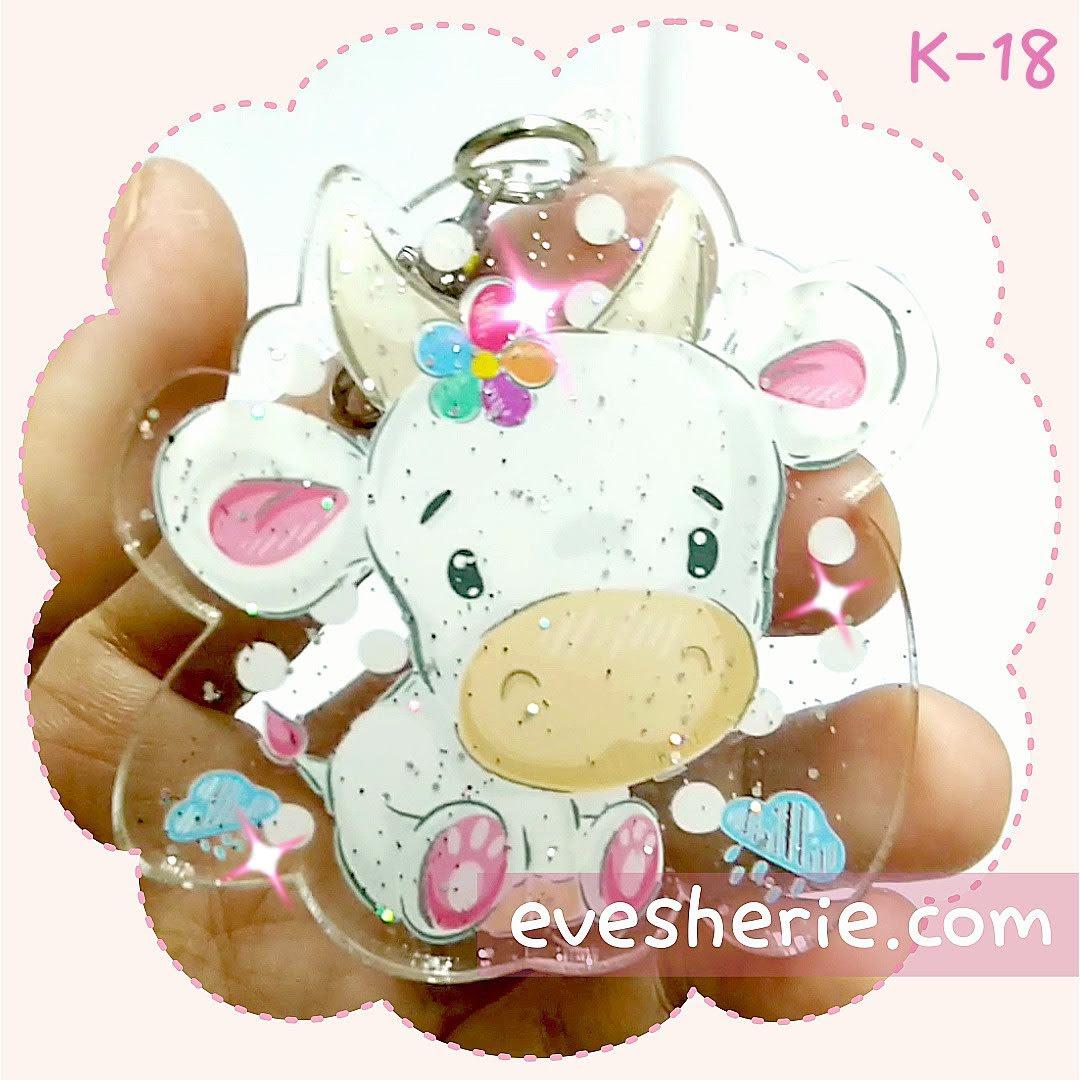 พวงกุญแจ วัว สีชมพู พาสเทล น่ารัก cute pink pastel cow keychain