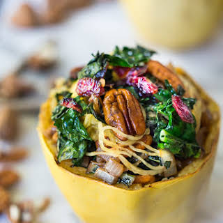 Stuffed Spaghetti Squash with Pecans, Kale and Dried Cranberries.