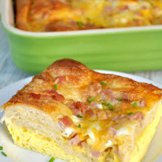 Ham Egg and Cheese Crescent Roll Casserole.