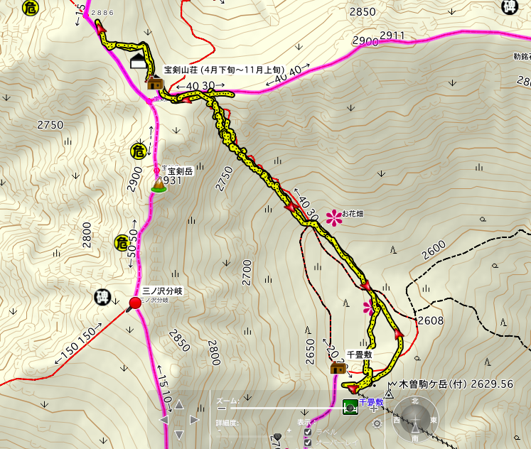 Mt. Kiso-Komagatake The map of the climb