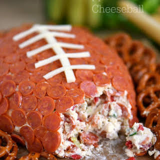 Pepperoni Pizza Football Cheese Ball.