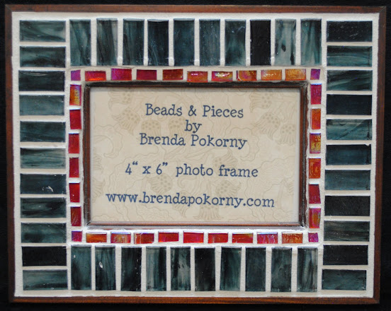 "Smokey Blue & Peach Mosaic 4"" x 6"" Photo Frame MOF1335"