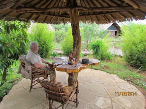 Photo: New tents at Kibo Safari Camp - Amboseli.   Lunch at an outside table