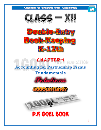 Account Class-12 Solutions (D K Goel) Vol-1 ss3