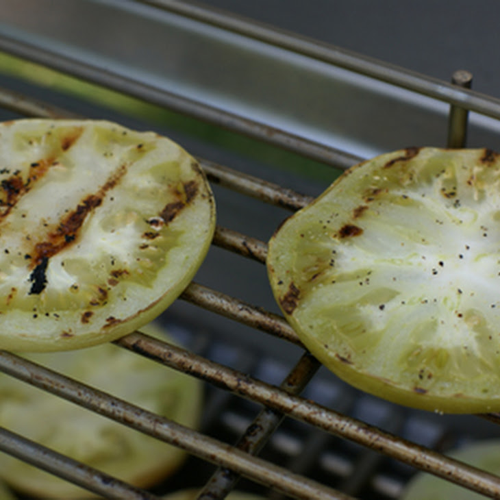 Grilled Green Tomato Slices