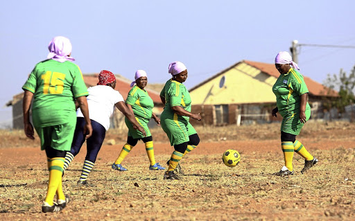 Vakhegula flex their muscles at training. The grannies team currently needs talented players to beef up their squad.