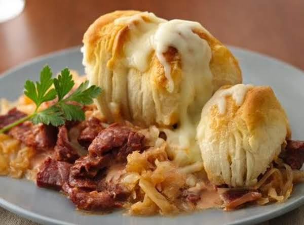 Pillsbury® Grands!® Jr. Golden Layers® Biscuits Provide An Easy Topping To This Cheesy Pot Pie That's Made Using Corned Beef And Sauerkraut - A Perfect Casserole Dinner.