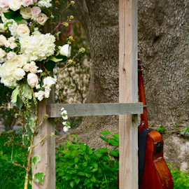 Waiting for the Groom's Serenade by Liz Rosas - Wedding Details ( floral, guitar )