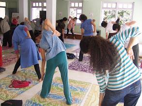 Photo: 1 Month YTT Course - Batch of May 2008 - Jeenal Mehta conducting Asana's Class (students performing Konasana I).
