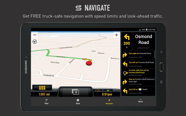 My one20 truck safe gps screenshot