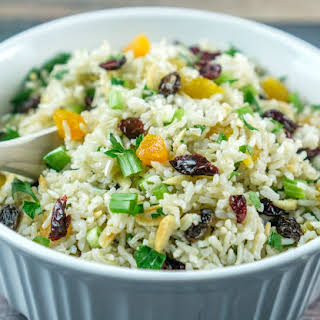 Brown Rice Salad with Nuts and Dried Fruit.