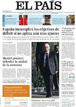 Photo: España incumplirá los objetivos del déficit si no aplica más ajustes, las declaraciones de ETA sobre el posible desarme y el reto de Papademos como futuro primer ministro griego en nuestra portada. http://www.elpais.com/static/misc/portada20111111.pdf