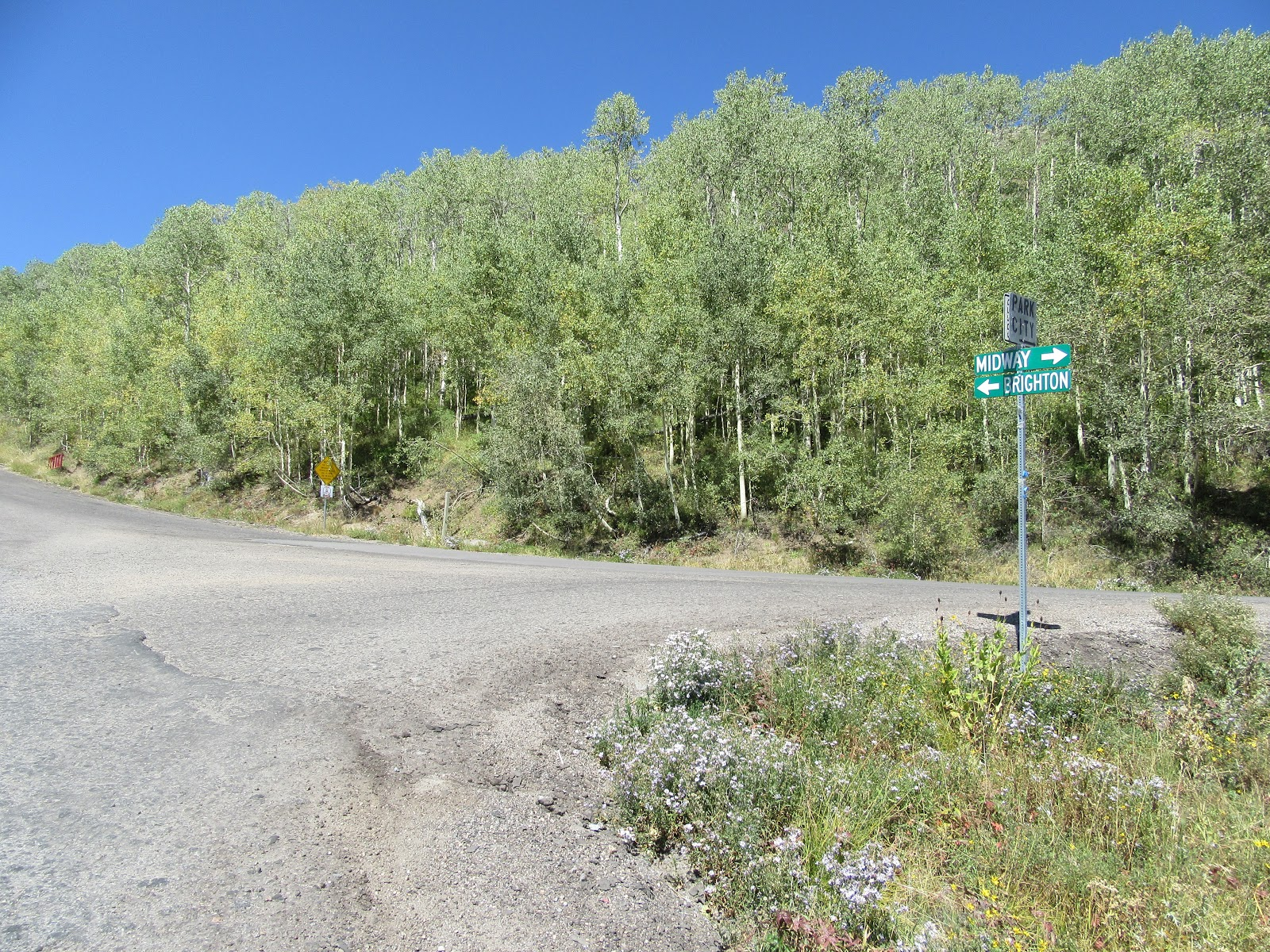 Roadway sign at turn off from Pine Canyon Road to Empire Pass.