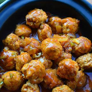 Slow Cooker Buffalo Chicken Meatballs.