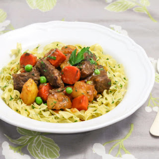 Beef Stew with Buttered Noodles.