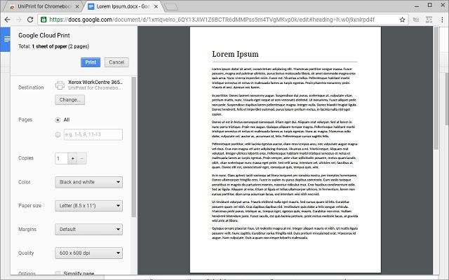 UniPrint for Chromebooks (Enterprise)
