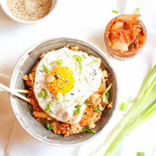 15 Minute Kimchi Cauliflower Fried Rice with a Perfect Egg on Top.