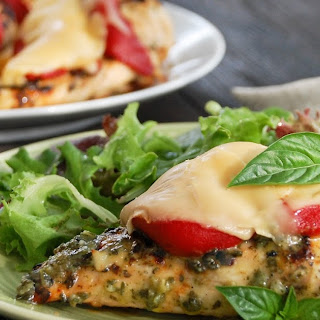 Grilled Pesto Chicken with Gouda & Roasted Red Pepper.