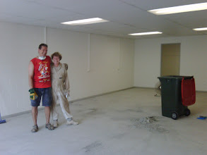 Photo: The floor scrubbing exercise - before the carpet went down