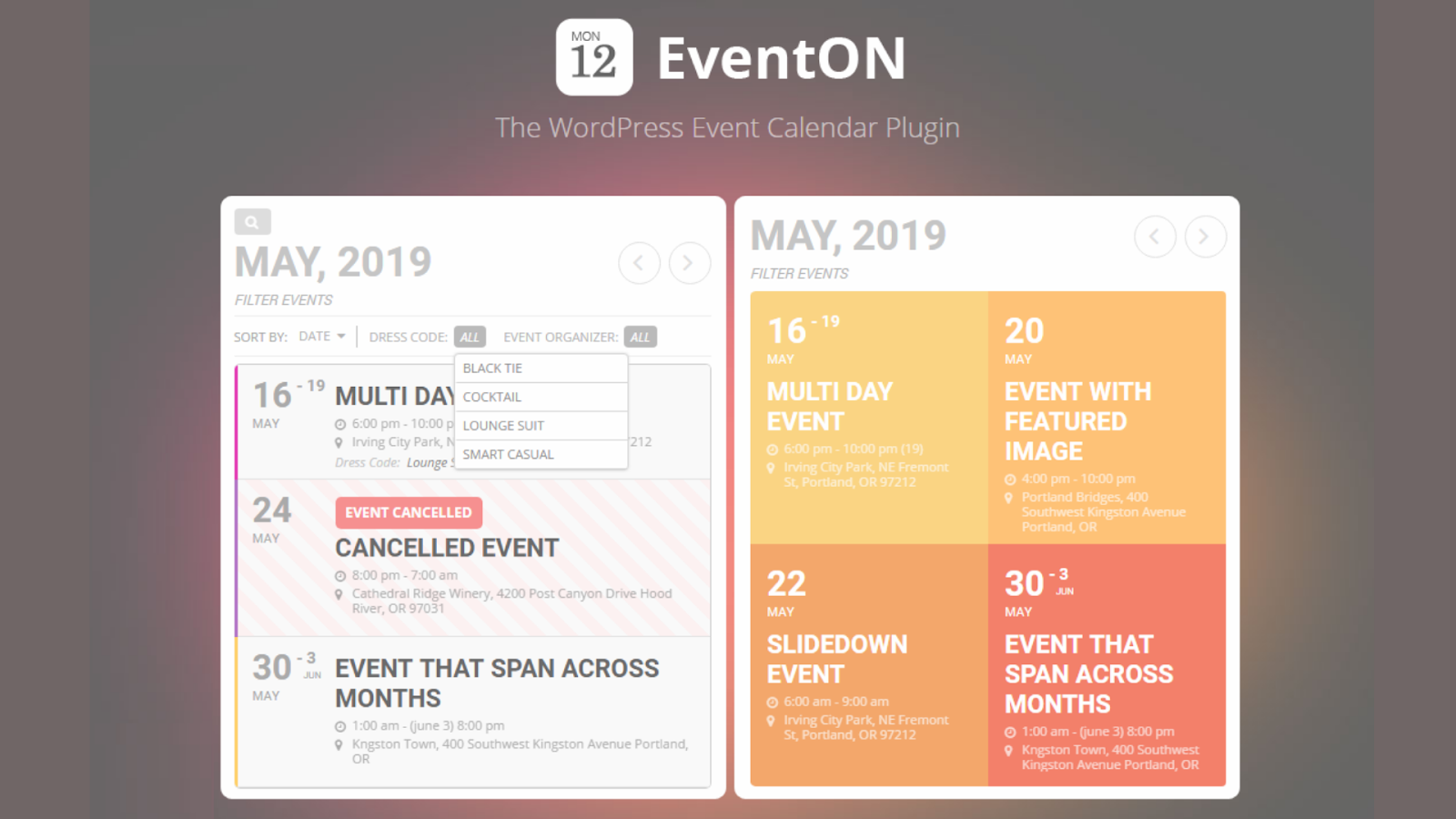 EventOn WordPress events plugins