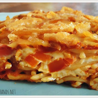 Baked Spaghetti with Crispy French Fried Onions