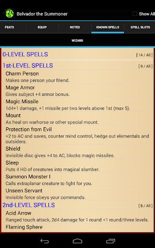 d20 Character Sheet screenshot 23