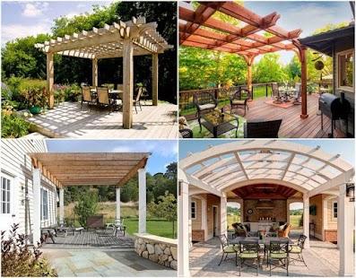 Pergola Design Ideas exteriorrustic country garden pergola design ideas with wooden railing roofing also comfortable bench and Pergola Design Ideas Screenshot Thumbnail