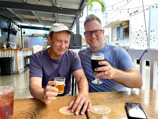 me-nick.jpg - Shared a brew with thriller author Nick Thacker, right, at a microbrewery in downtown Honolulu.