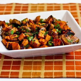 Roasted Sweet Potatoes and Mushrooms with Thyme and Parsley.
