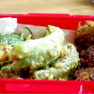Stuffed Deep Fried Green Peppers, Perilla Leaves, Shiitake Mushrooms.