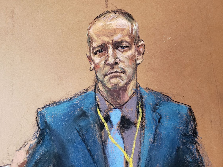Derek Chauvin, the former Minneapolis police officer facing murder charges in the death of George Floyd, is introduced to potential jurors during jury selection in his trial in Minneapolis, Minnesota, US, March 15, 2021 in this courtroom sketch from a video feed of the proceedings.