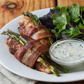 Bacon-Wrapped Chicken Tenders with Cucumber-Ranch Dressing.