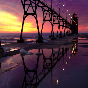 Winters night by Charles Anderson Jr - Landscapes Sunsets & Sunrises ( light house )