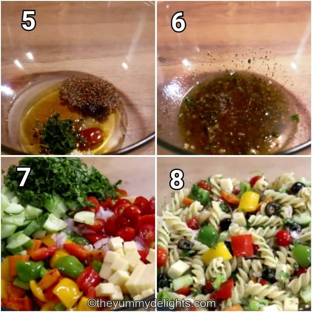 step by step image collage of preparing the italian salad dressing and tossing the pasta and veggies in it