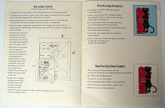 Photo: Pages 6 -7 of the brochure: further instructions, if the illustrator providing the artwork wasn't computer saavy. (At the time, in 1994, not every illustrator had Macintosh skills. Artists like myself earned more hourly for the training we paid for ourselves).