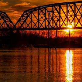 Sunset over the Ohio river  by Amanda Burton - Buildings & Architecture Bridges & Suspended Structures ( nature, waterscape, sunset, weather )