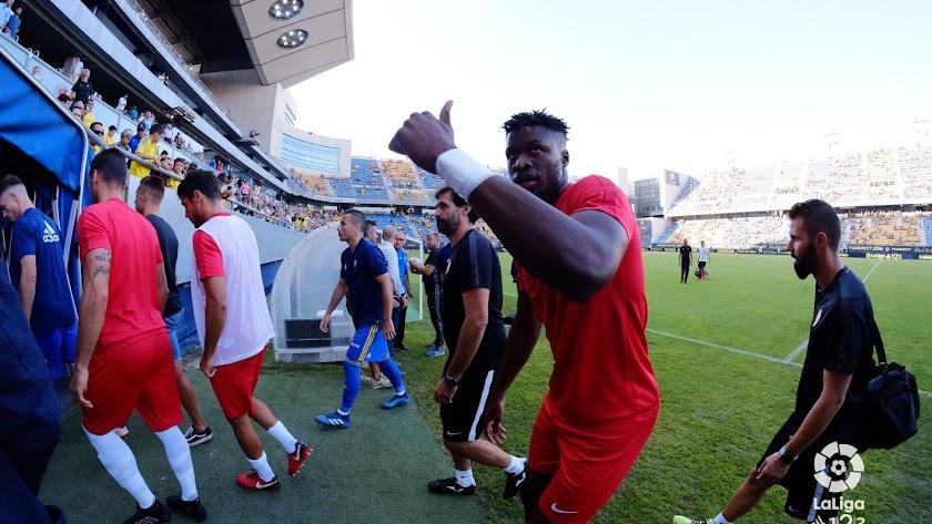 Sekou en Cádiz debutando con el Almería en Segunda.