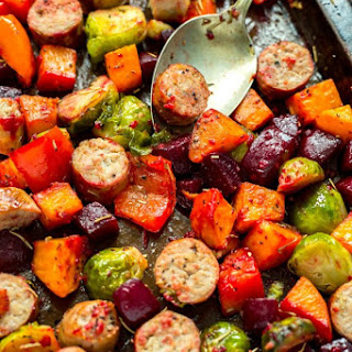 One Pan Sausage & Root Vegetable Scramble.