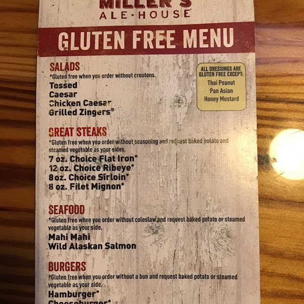 Here is their gluten free menu