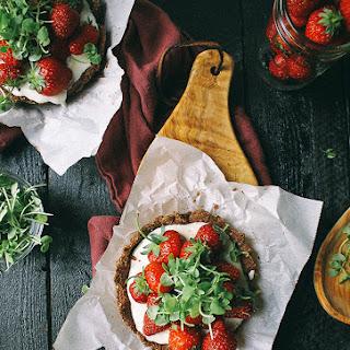 Mini Strawberry Chocolate Tart with Whipped Goat Cheese & Basil Micro Greens