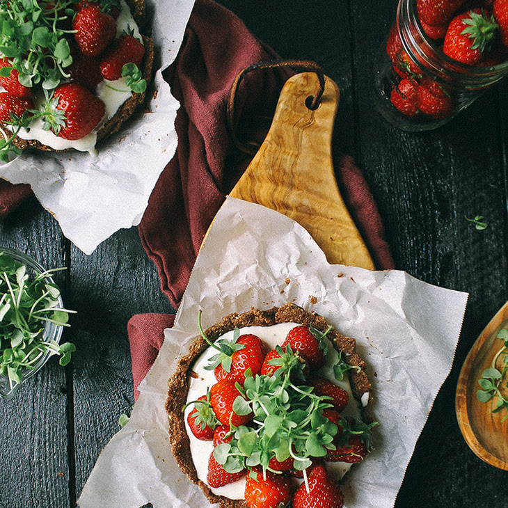 Mini Strawberry Chocolate Tart with Whipped Goat Cheese & Basil Micro Greens Recipe