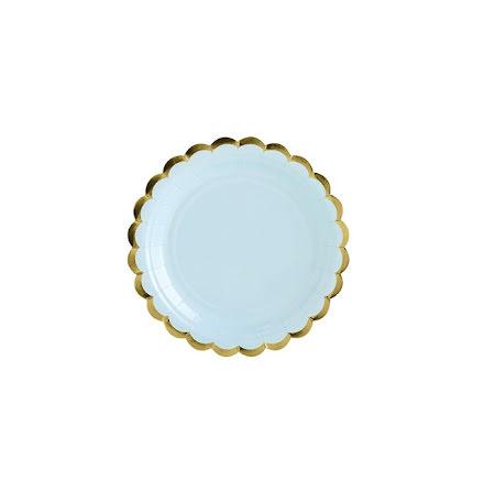 Assietter - Ljusblå & Guld