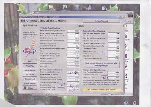 """Photo: page de calcul du logiciel """"EH6"""" de Ted Hart W5QJR http://www.eh-antenna.com/newbiography.htm"""
