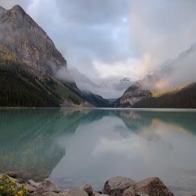 Lake Louise by Glen Fortner - Landscapes Waterscapes ( lake louise, canada, rockies, lake, sunrise )